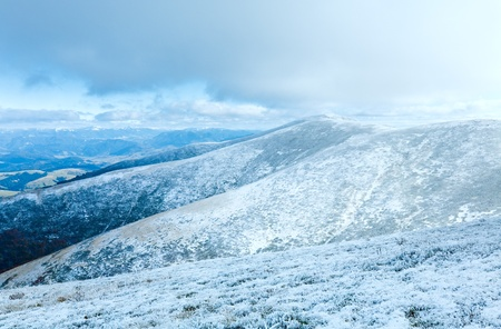 October Carpathian mountain Borghava plateau with first winter snow photo