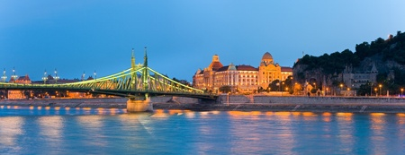 Budapest night view. Long exposure. Hungarian landmarks, Freedom Bridge and Gellert Hotel Palace.
