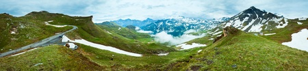 Summer Alps mountain (view from Grossglockner High Alpine Road). Four shots stitch image. photo