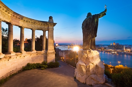erected: Budapest night view. The Monument to Bishop Gellert (was erected in 1904 and designed by sculptor Gyula Jankovits).