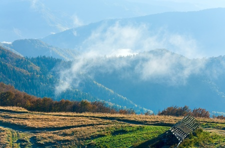Morning misty autumn mountain landscape (Carpathian, Ukraine) Stock Photo - 13598853