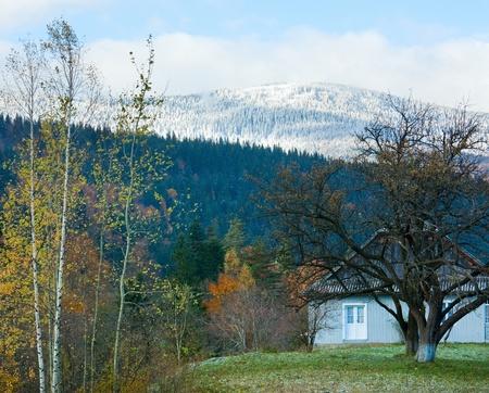 Misty morning autumn mountain village (Carpathian, Ukraine) Stock Photo - 13598874