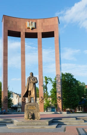 nationalists: LVIV, UKRAINE - MAY 05:  Stepan Bandera (fighter for Ukraine independence, the leader of Organization of Ukrainian Nationalists (OUN) in the 1940s - 1950s) monument in Lviv-City (Ukraine) The artists - authors : sculptor - Mykola Posikira, architect  - M