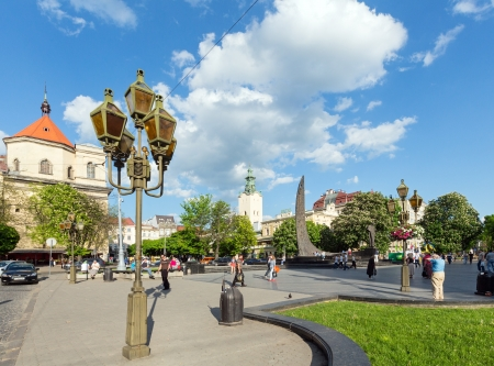 LVIV, UKRAINE - MAY 10: Central Svobody (liberty) avenue and Poet Taras Shevchenko monument view in Lviv City, Ukraine in May 10th 2012