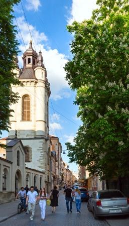 LVIV, UKRAINE - MAY 10: Virmensjka (Armenian) Street  in Lviv City, Ukraine in May 10th 2012