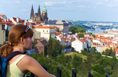 Stare Mesto (Old Town) view, Prague, Czech Republic and woman photo