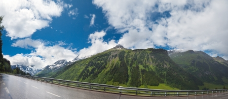 Tranquil summer Alps mountain (view from Grossglockner High Alpine Road).  Two shots composite picture. photo
