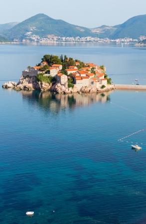 islet: Sveti Stefan sea islet morning view (Montenegro, Budva)