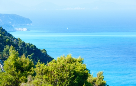 ionian: Beautiful summer Lefkada coast  (Greece, Ionian Sea)  view from up