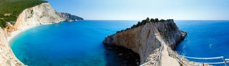 Beautiful summer Porto Katsiki beach panorama with white sand on Ionian Sea (Lefkada, Greece). Three shots composite picture. photo