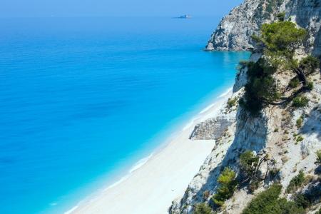 Beautiful summer white Egremni beach on Ionian Sea (Lefkada, Greece)  summer view from nearest rock photo