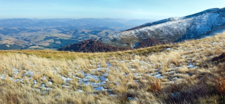 October Carpathian mountain Borghava plateau with first winter snow. Two shots composite picture. Stock Photo