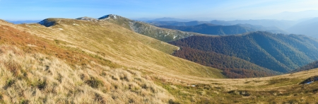 borghava: October Carpathian mountain Borghava plateau with first winter snow on ridge. Three shots composite picture.