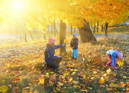 Happy family (mother with small children) walking in golden maple autumn park and sunshine behind the tree foliage