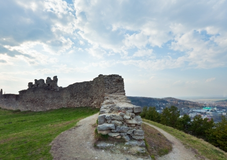 12th century: Spring view of ancient castle ruins ( Kremenets city , Ternopil Region, Ukraine). Built in 12th century. Stock Photo