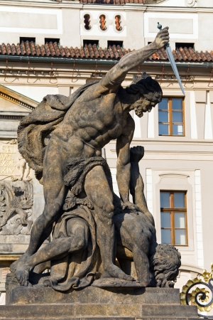 titan: Battling Titan at the gate of Castle in Hradcany Prague, Czech Republic Stock Photo