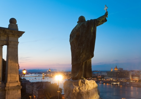 Budapest night view. The Monument to Bishop Gellert. photo