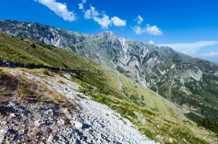 Summer  Llogara pass view  with serpentine road (Albania) photo