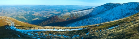 Autumn  mountain panorama with first winter snow (Carpathian, Ukraine).