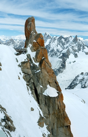 Mont Blanc mountain massif summer landscape(view from Aiguille du Midi Mount,  French ) with observation point . photo