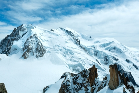 Mont Blanc mountain massif summer landscape(view from Aiguille du Midi Mount,  French ) photo