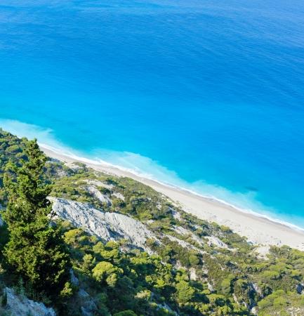 Beautiful summer Lefkada coast beach (Greece, Ionian Sea)  view from up photo
