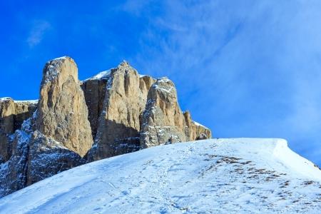 sella: Beautiful winter mountain landscape (Sella Pass , Italy). Stock Photo
