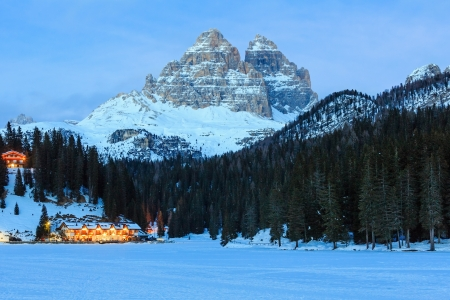 lake misurina: Beautiful winter frozen up Alpine lake Misurina view at Auronzo di Cadore (Italy) Stock Photo