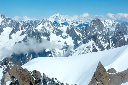 Mont Blanc mountain massif summer landscape(view from Aiguille du Midi Mount,  France ) photo