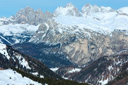 sella: Beautiful winter mountain landscape. View from Sella Pass , Italy. Stock Photo