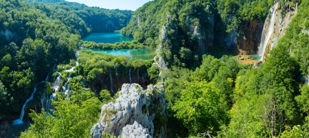 limpid: Cascade azure limpid lakes with waterfalls  in Plitvice Lakes National Park (Croatia)