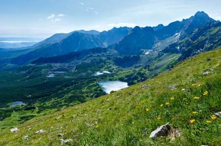 Tatra Mountain, Poland, view to Valley Gasienicowa, Swinica mount and group of glacial lakes photo