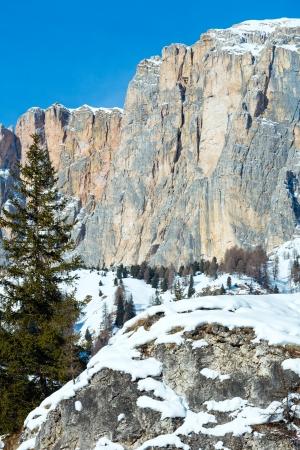 gardena: Beautiful winter rocky mountain landscape. Italy Dolomites, at the foot of Passo Gardena, South Tyrol. Stock Photo