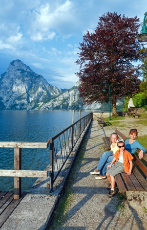 Traunsee summer lake and family (Traunkirchen, Austria). photo