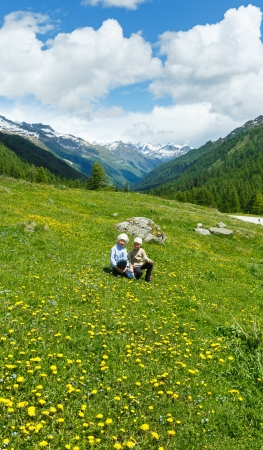 dandelion snow: Children on summer mountain meadow with yellow dandelion flowers (Alps, Switzerland) Stock Photo