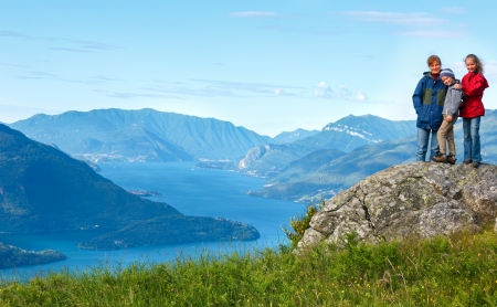 Alpine Lake Como summer  view from mountain top and family (Italy) Stock Photo - 18811825
