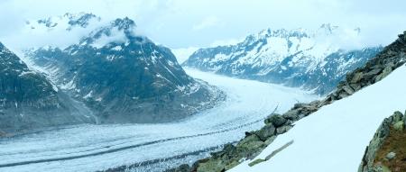 aletsch: Aletsch Glacier summer cloudy panorama  (Bettmerhorn, Switzerland)