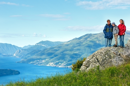 Alpine Lake Como summer  view from mountain top and family (Italy) photo