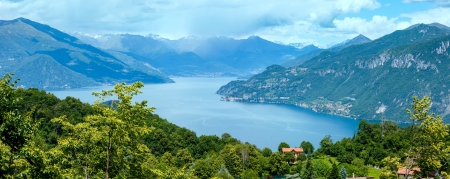 Alpine Lake Como summer  view from mountain top (Italy) photo