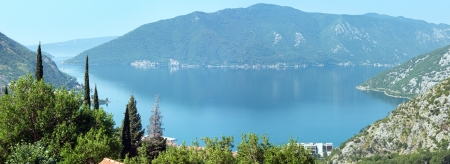 Bay of Kotor summer misty panorama (Montenegro) photo