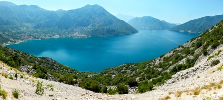 Bay of Kotor summer panorama  (the coast of Perast town, Montenegro) photo