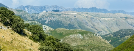 Summer misty Llogara pase panorama (Albania) photo