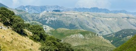 Summer misty Llogara pass panorama (Albania) photo