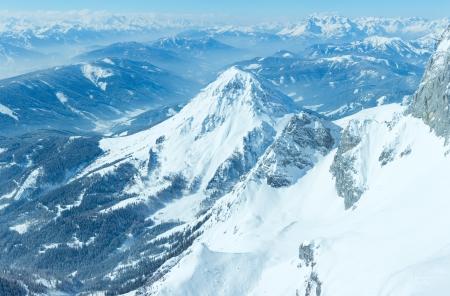 top veiw: Winter hazy veiw from Dachstein mountain massif top to Schladming and Filzmoos region (Austria).