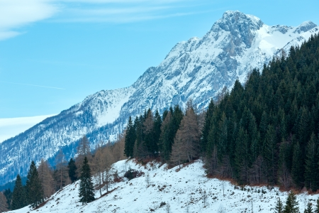 osttirol: Winter mountain landscape. Veiw from Obergail village outskirts in Lesachtal (Austria).