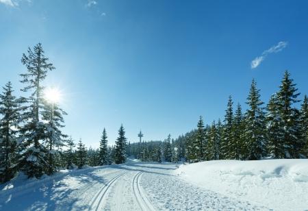 Sole invernale paesaggio montano con pista da sci (top di Papageno bahn - Filzmoos, Austria) Archivio Fotografico