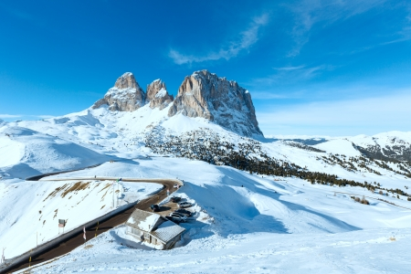 sella: Beautiful winter mountain landscape with parking and road (Sella Pass , Italy). Stock Photo
