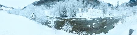 limpid: Winter mountain limpid river panorama (Austria)