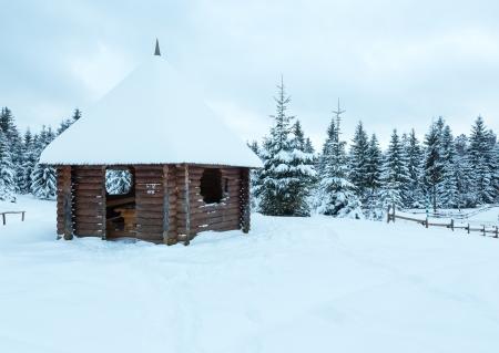 tuinhuis: Houten zomerhuis op de winter heuvel en sparrenbos achter. Bewolkte dag. Stockfoto