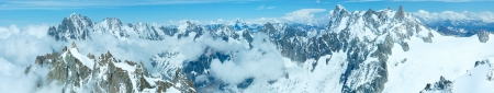 Mont Blanc mountain massif summer panorama (view from Aiguille du Midi Mount,  France ) photo